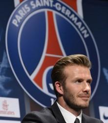David Beckham lors de la conférence de presse marquant son arrivée le 31 janvier.